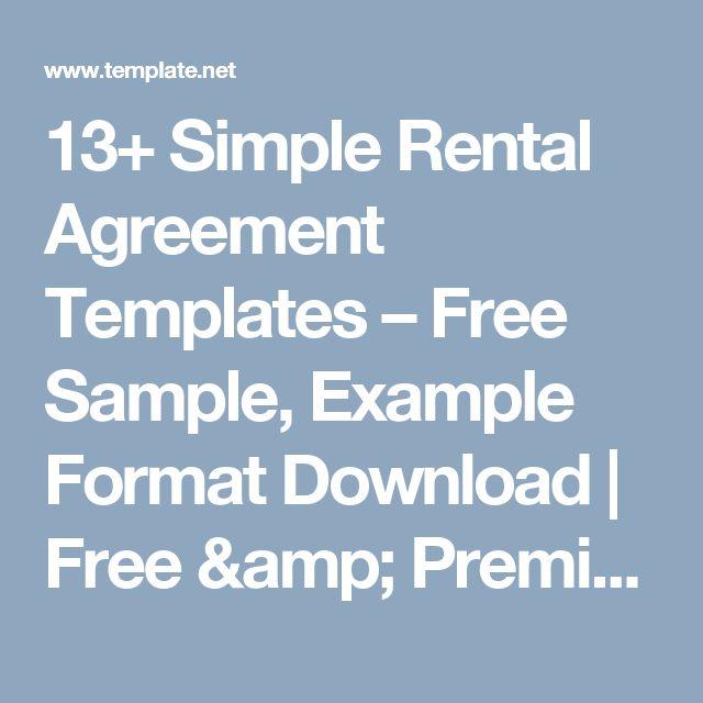 13+ Simple Rental Agreement Templates \u2013 Free Sample, Example Format - basic rental agreement letter template