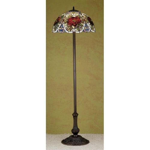 Meyda Tiffany 27601 Stained Glass / Tiffany Floor Lamp from the Renaissance Rose Collection, Tiffany Glass
