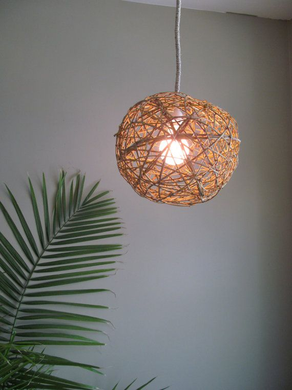 Large Natural Hanging Woven Willow Sphere Lamp, Willow Ball Pendant Lamp by DriftingConcepts