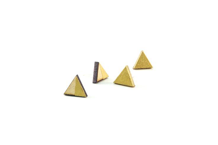 Wooden Stud Earrings | Handmade Painted Geometric Triangle Gold Dip Wooden Earrings