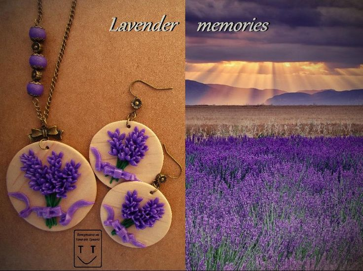 Necklace and earrings lavender. Handmade jewelry from polymer clay. by newstylejewerly on Etsy
