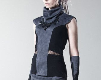 Sci-fi vest avant garde sleeveless top cowl neck blouse waist cut out rayon jersey - BM woman