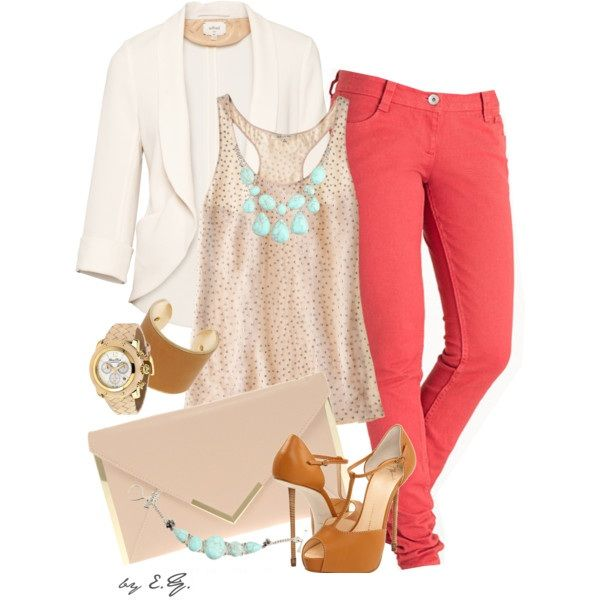Classy Outfit: Shoes, Coral Jeans, Coral Pants, Skinny Jeans, Color Combos, Pink Pants, Outfit, Blazers, Color Jeans