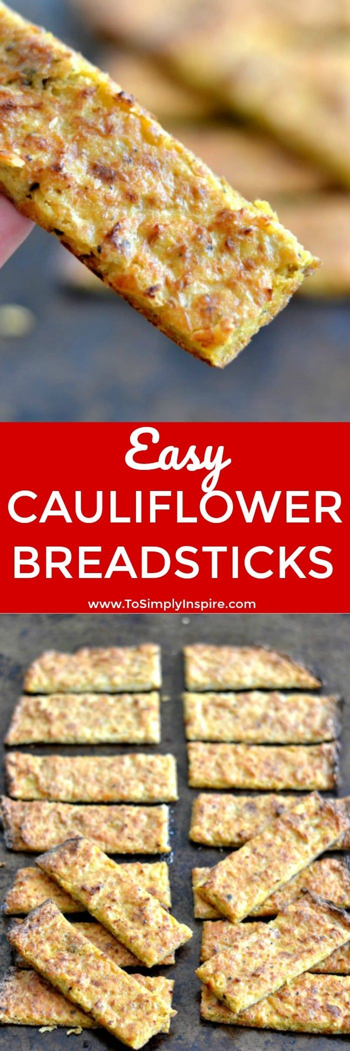 These Cauliflower Breadsticks are a wonderful little healthy, low carb option to add to any meal or as an appetizer. | www.ToSimplyInspire.com #cauliflower #breadsticks #lowcarb #easy