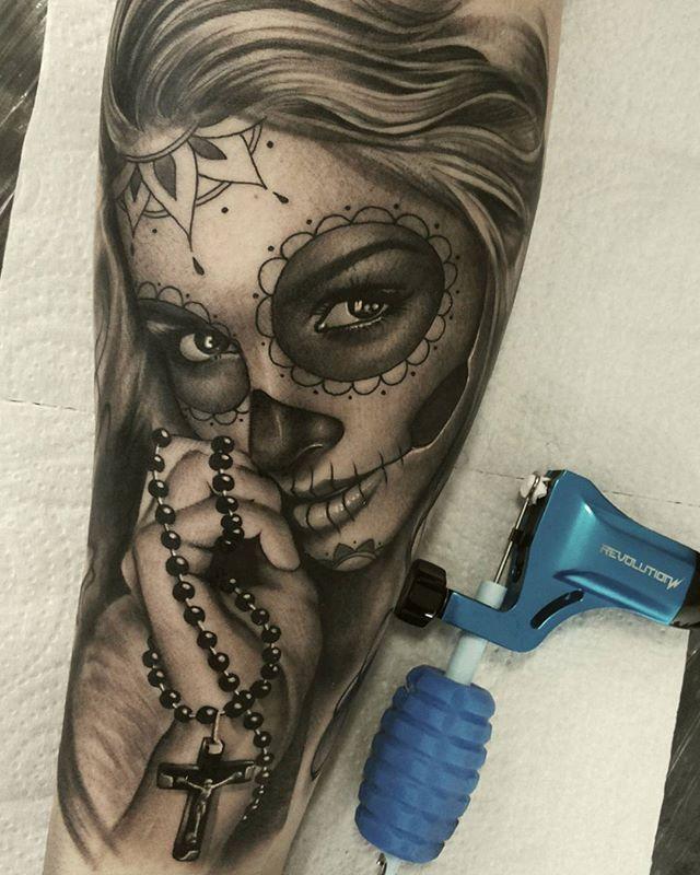 Goddess Leach tattoo Day of the dead arm sleeve