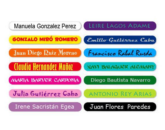 Pegatinas personalizadas con nombre de colores
