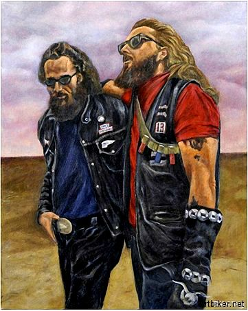 Sonny Barger and John Terrance 'Terry the Tramp' Tracy, Hell's Angels members, circa 1969.