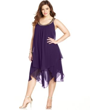 Sl Fashions Plus Size Tiered Shift Dress - Purple 16W