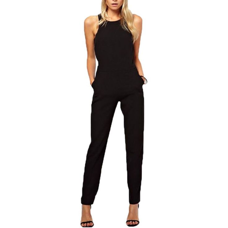 Summer Elegant Women Rompers Jumpsuit Casual Solid Sleeveless Crew Neck Long Jumpsuits
