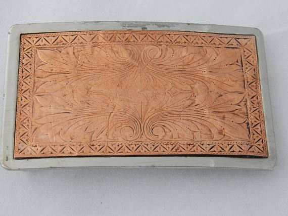 Vintage Belt Buckle Copper Front on a Nickel Plated Buckle