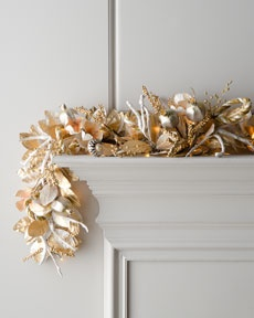 "H6CT6 ""Champagne Frost"" Pre-Lit Christmas Garland"
