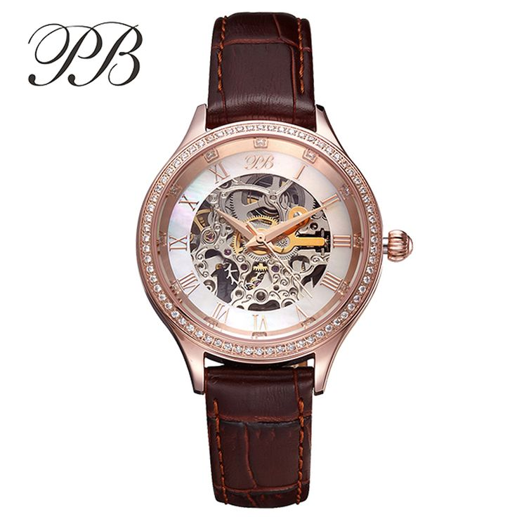 Find More Women's Watches Information about PB Brand Top Quality Austrian Crystal Ladies Automatic Mechanical Watches Luxury Women Genuine Leather Skeleton Watch with Box,High Quality watch stick,China watch tin Suppliers, Cheap watch tourbillon from YIKOO Watches Store on Aliexpress.com