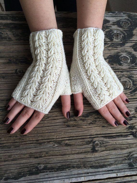 Ivory Cream Fingerless Gloves Cozy Mittens Handknit by NickNacky