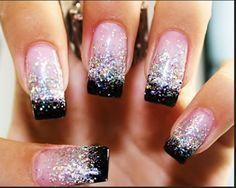roze zilver zwart nagels