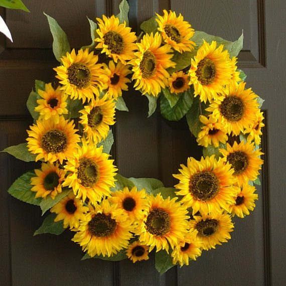 summer wreath spring wreath sunflower wreath front by aniamelisa