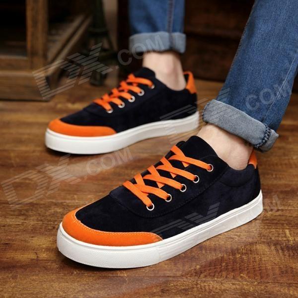 Shang-Jin Men's Breathable Canvas Shoes - Black + Orange + White (EUR Size 42)