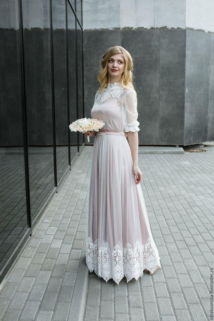 Купить Винтажное свадебное платье - бледно-розовый, свадебное платье, цветное свадебное платье