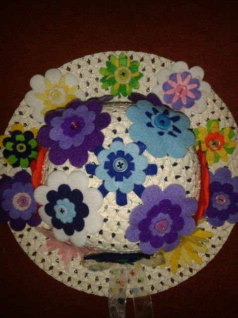 Easter bonnet with felt flowers
