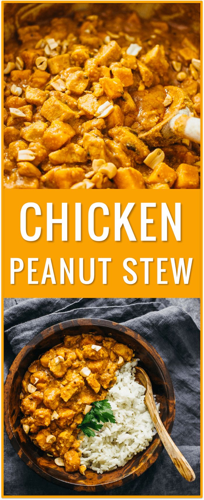chicken peanut stew with sweet potato recipe, african chicken peanut stew, soup, easy recipe, peanut butter, peanut sauce, dinner, comfort food, one pot, one pan, lunch via @savory_tooth