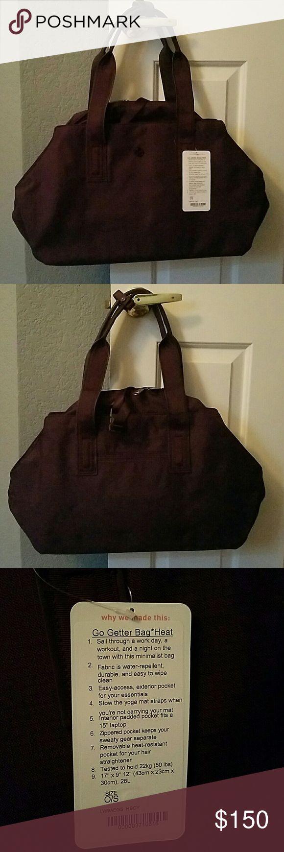 Lululemon bag! Deep Burgundy in color! Bnwt! Go getter bag! *heat! Never used. Sold out online! lululemon athletica Bags Shoulder Bags