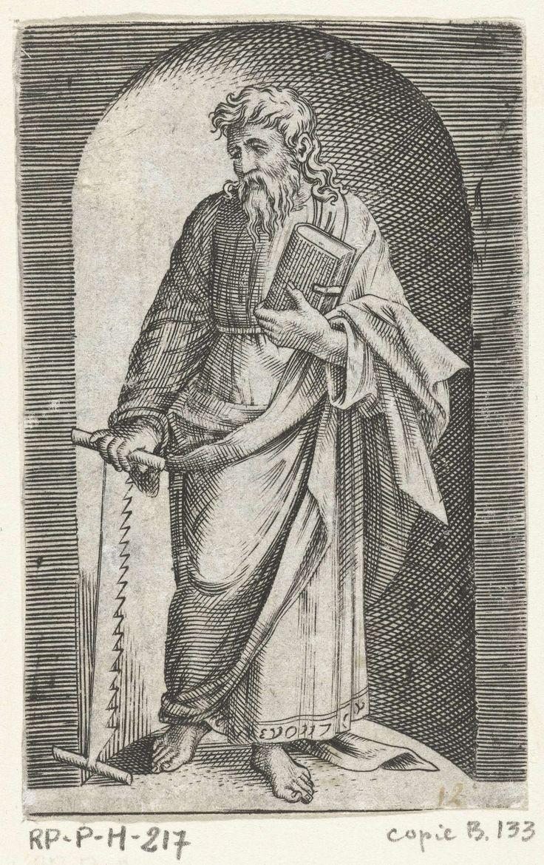 Marcantonio Raimondi | Apostel Simon Zelotes met zaag staand in nis, Marcantonio Raimondi, Rafaël, Anonymous, 1517 - 1577 |