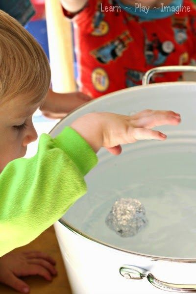 Water science for toddlers - sink or float with common household items.