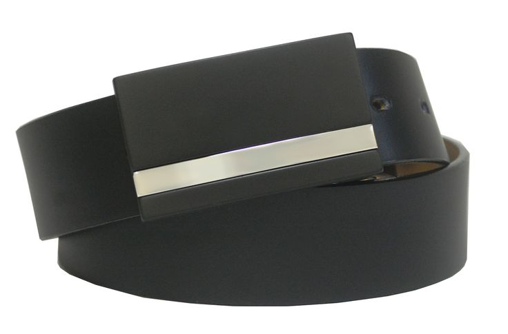 Leather Strap with Matte Finish Plaque Buckle featuring Metallic Detail - $50.00