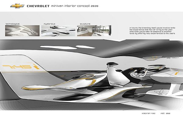 Chevrolet minivan concept 2030 project done in the course of MFA Trans Design Studio III in fall 2012 semester. Instructed by Mr. Alikhan Kuljanov from General Motors.