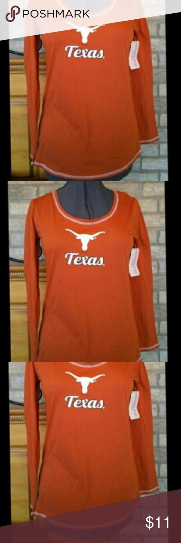NEW UT UNIVERSITY OF TEXAS LONGHORN LONG SLEEVE NEW UT UNIVERSITY OF TEXAS LONGHORN LONG SLEEVE JUNIOR SIZE LARGE BACK HAS NO DESIGN BOTTOM HEM IS SLIGHTLY CURVED SMOKE FREE BUT PET FRIENDLY HOUSE Tops Tees - Long Sleeve