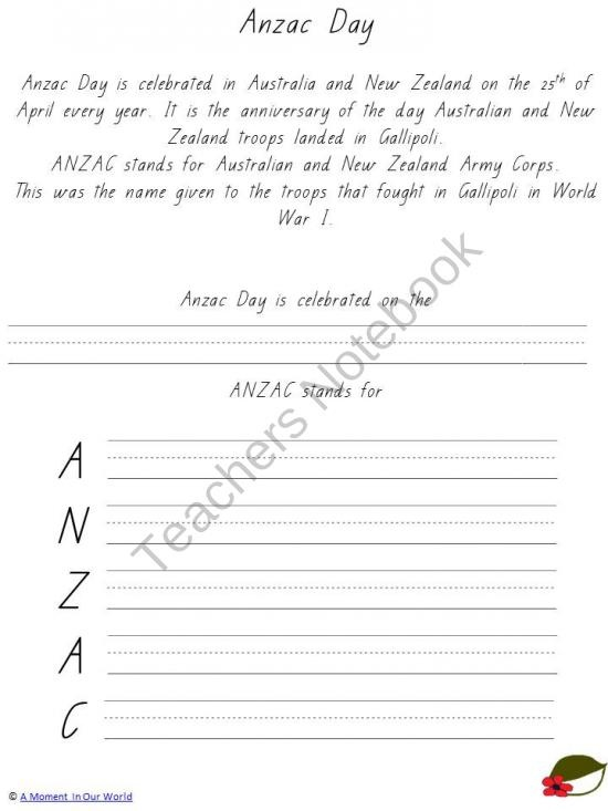 Anzac Day Mini from A Moment In Our World on TeachersNotebook.com (29 pages)