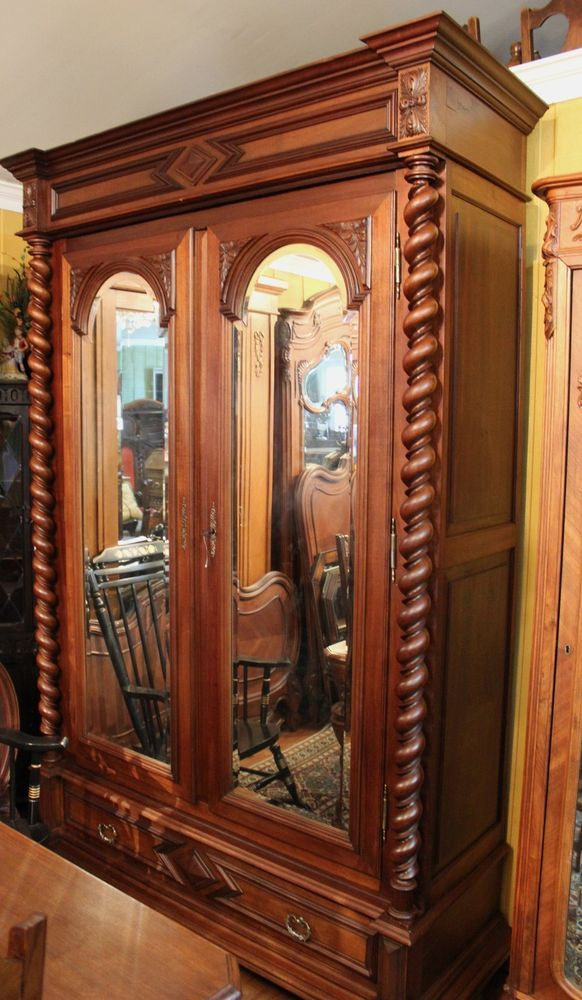 Charmant Large Henry II French Antique Barley Twist Walnut Carved Armoire.  Mirror/Drawer