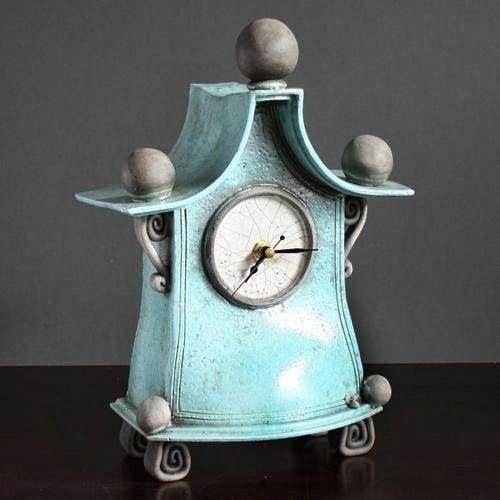 Quirky Ceramic Mantel Clock by Ian Roberts