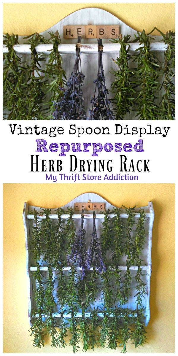 Your home will smell heavenly when you repurpose a thrift store spoon display as an herb drying rack!