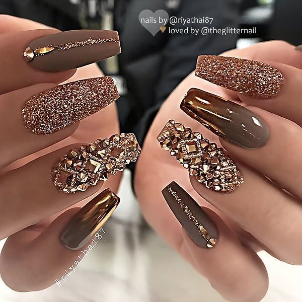 Taupe Brown With Gold Chrome Glitter And Crystals On Coffin Nails Nail Artis Classy Nail Designs Coffin Nails Designs Glam Nails