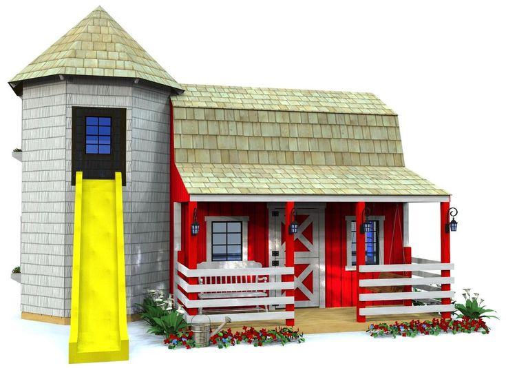 Barn Amp Silo Playhouse Plan 2‑sizes Play Houses Build