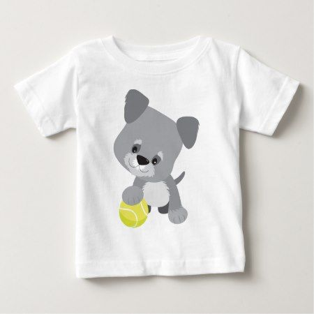 Schnauzer Puppy and Ball Baby T-Shirt - tap to personalize and get yours