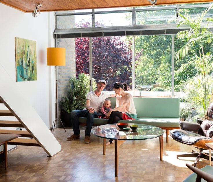 Scandinavian Modernism in London - parquet plus teak panelled roof, yes yes yes