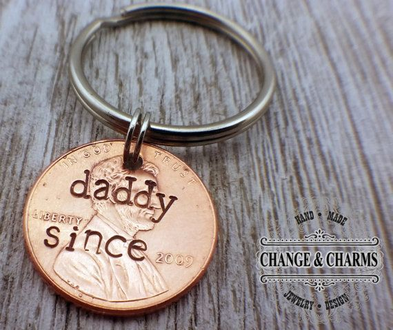 Daddy Since Penny Keychain Fathers Day Gift by ChangeandCharms