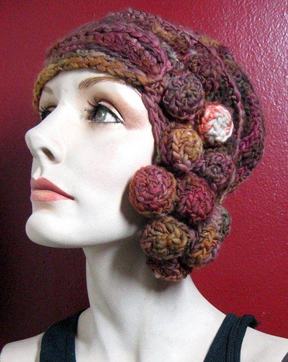 Sangria Nodule freeform crochet hat OOAK от girlwithahook на Etsy. Gorro  BoinaBordados ... 406df43981b