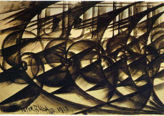 FUTURISMO Giacomo Balla. 'Velocidad de automóvil' (1913)