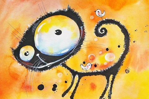 152 Черный кот. Рисунок Кати Чуйковой