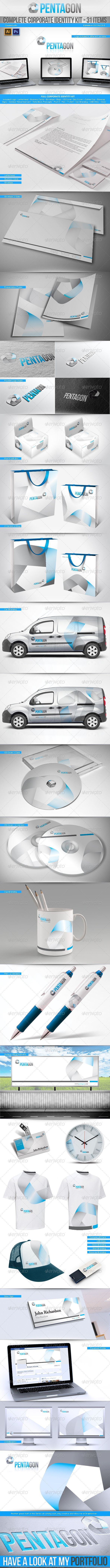 Corporate Identity Kit - Pentagon - 31 Items Get the source files for download: http://graphicriver.net/item/corporate-identity-kit-pentagon-31-items/3137658