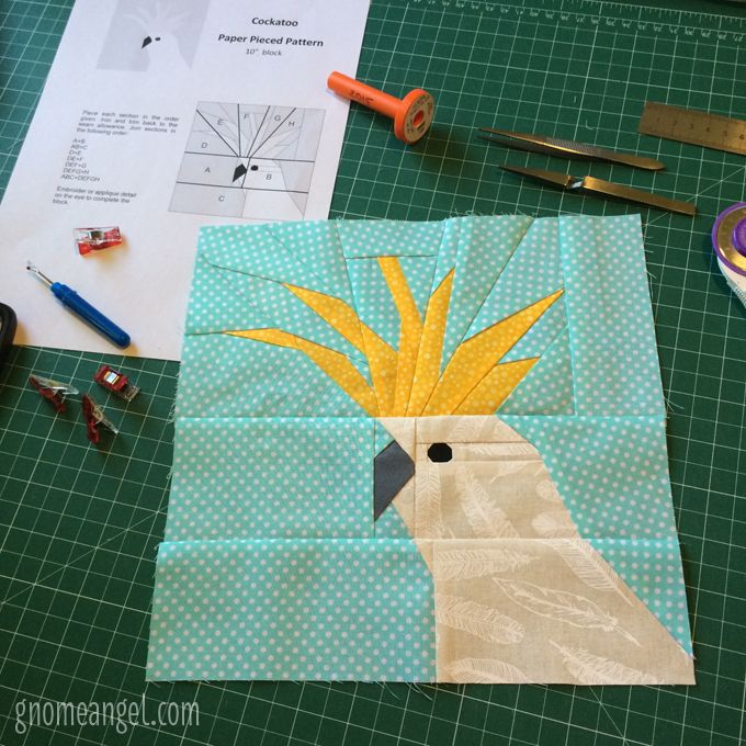 Australian Animal Block - Pattern by Kristy @ Quiet Play. Paper pieced by Angie Wilson of GnomeAngel.com