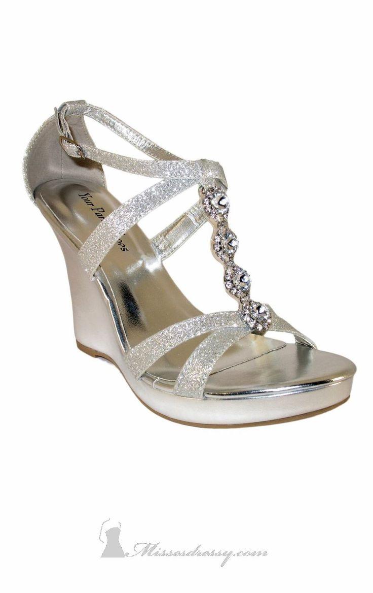 Pewter Wedge Wedding Shoes