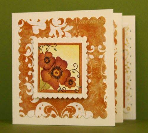 Marjoleine's blog: Kaarten met bruine bloemen