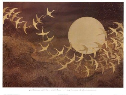 .: Keiichi Nishimura, Cranes, The Lune, Moon, Illustration, Art Prints, Moon Art, Birds, The Moon