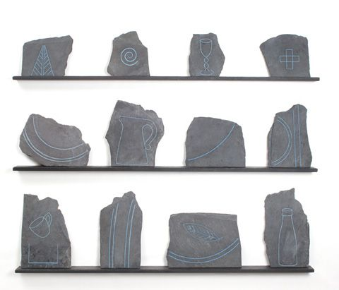 Clyde Olliver - Welsh Quilt - Stitched Slate Sculpture