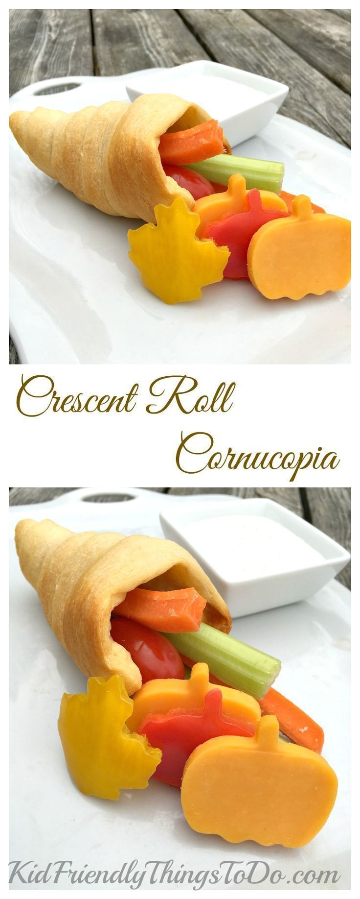 Thanksgiving fun food for kids - Crescent Roll Cornucopia filled with Vegetables and served with ranch dip! Yum and Fun! - http://KidFriendlyThingsToDo.com