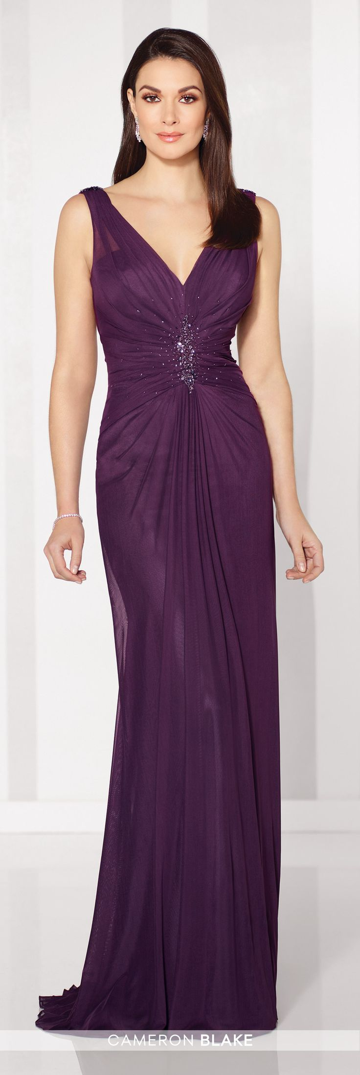 Cameron Blake - 216681 - Sleeveless stretch mesh slim A-line gown with V-neckline, center ruched bodice with hand-beading, cowl back, center gathered skirt. Matching shawl included.Sizes: 4 - 20Colors: Eggplant, Navy Blue, Smoke