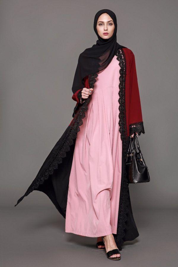ef13c9db7f096 Muslim Abaya Lace Cardigan Maxi Dress Islamic Clothing in 2019 ...